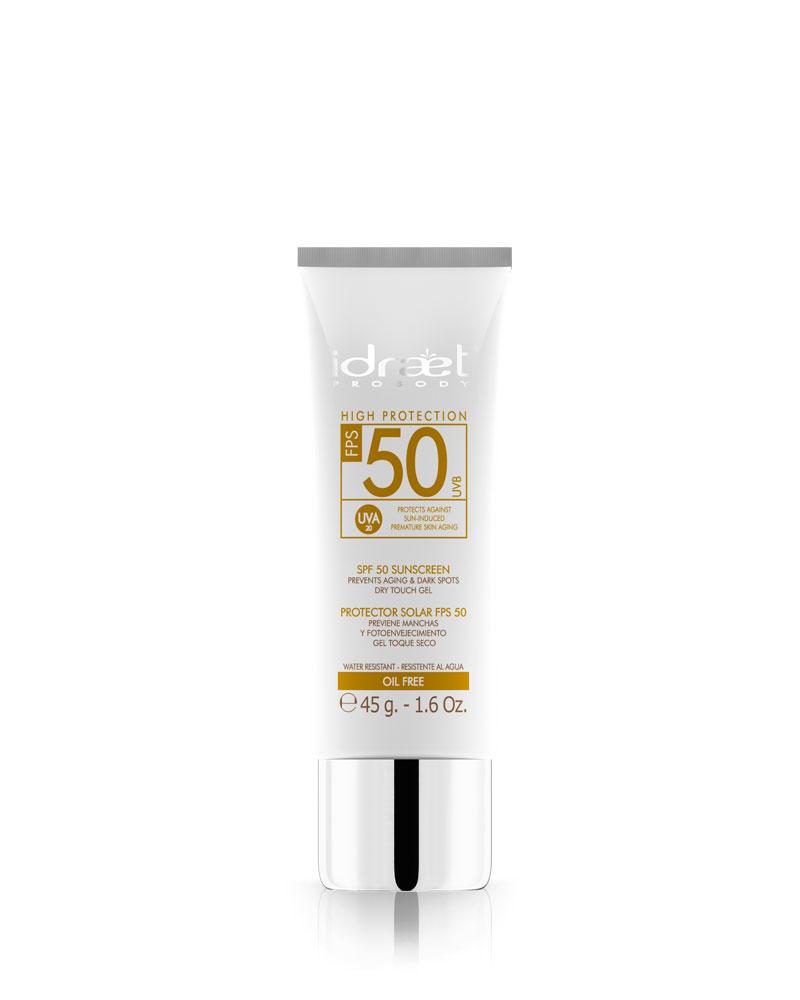 Protector Solar Toque Seco Facial SPF 50, Idraet